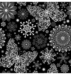 christmas black lacy seamless pattern vector image vector image