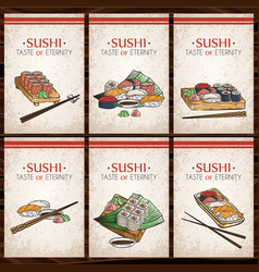 doodle sushi and rolls on wood japanese vector image vector image