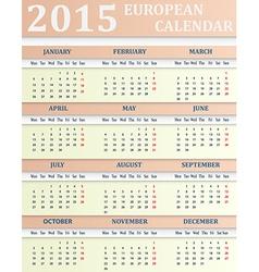 European Calendar for 2015 vector image
