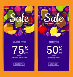 flat fruits vegan shop or market sale flyer vector image vector image