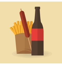 French fries and sausage design vector