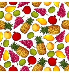 Fresh tropical fruits seamless pattern vector