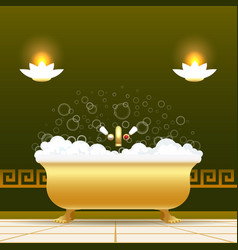 golden bathtub vector image