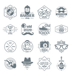 Hipster logo vintage icons set simple style vector