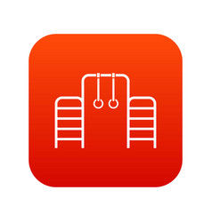 horizontal bar with climbing rings and ladder icon vector image