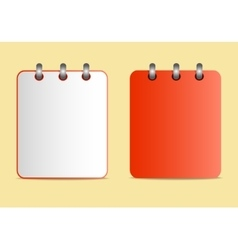 Icons of the red notebook on the rings in two vector