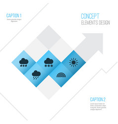 Meteorology icons set collection of douche sun vector