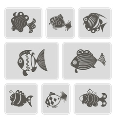 monochrome icons with different fish vector image