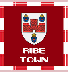 national ensigns of denmark - ribe town vector image vector image