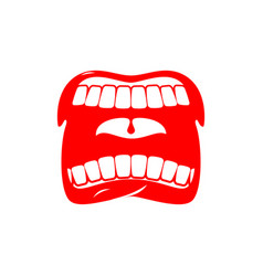 Open mouth isolated shout and scream tongue and vector