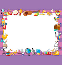 Paper template with instruments on border vector