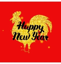 Red rooster new year poster vector
