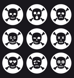 Scull icons set vector