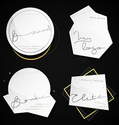 Set 4 white labels with black text Stylish vector image