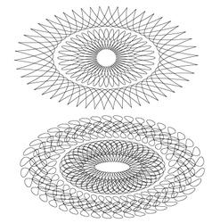 Set of 2 pcs elipse shaped guilloche pattern vector