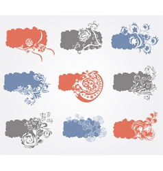 set of 9 floral banners vector image
