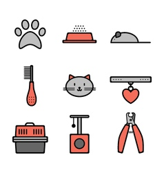Set of pets icons cat symbols vector image
