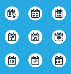 Set of simple calendar icons elements date block vector