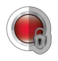 Sticker circular button with metallic padlock vector