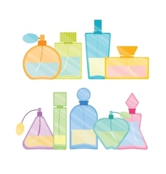 Vintage perfume bottle color line set vector
