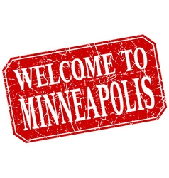 Welcome to minneapolis red square grunge stamp vector