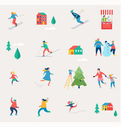 winter holidays icons vector image