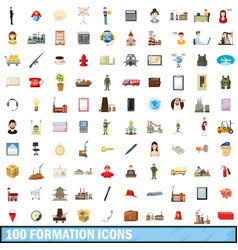 100 formation icons set cartoon style vector
