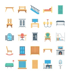 Furniture colored icons 7 vector