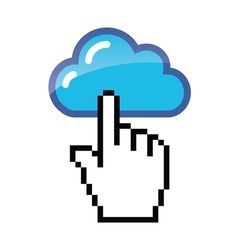 Blue cloud with cursor hand vector