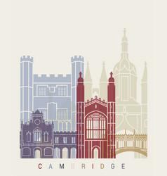 Cambridge skyline poster vector