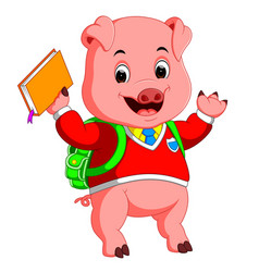 cute school pig walking with a backpack vector image