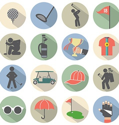 Modern Flat Design Golf Icon Set vector image
