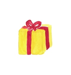 Vibrant gift box watercolor object on the white vector