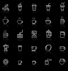 Coffee line icons with reflect on black vector