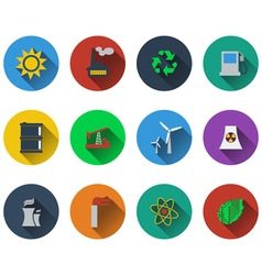 Set of energy icons in flat design vector