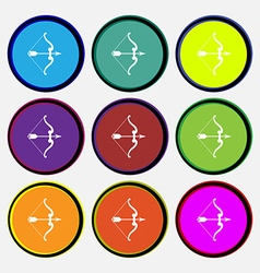 Bow and arrow icon sign nine multi colored round vector