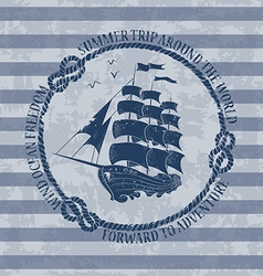 Nautical emblem with sailing ship vector