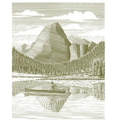 Woodcut man and canoe vector
