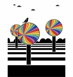 Rainbow trees vector