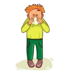 Ill little cartoon man sneezes image vector
