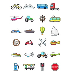 Colorful transport icons set vector