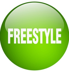 Freestyle green round gel isolated push button vector