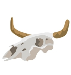 Head of an ancient fossil animal with horns vector