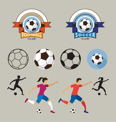 Football or soccer player and graphic elements vector