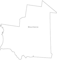 Black white mauritania outline map vector