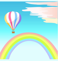 airballoon with colorful stripes in sky rainbow vector image vector image