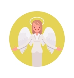Angel woman in a yellow circle vector