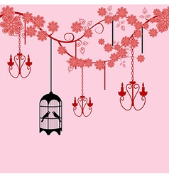 Bird cage floral background vector image vector image