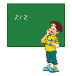 boy solving a math problem vector image vector image