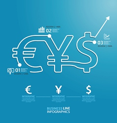 Business diagram money currency line style vector
